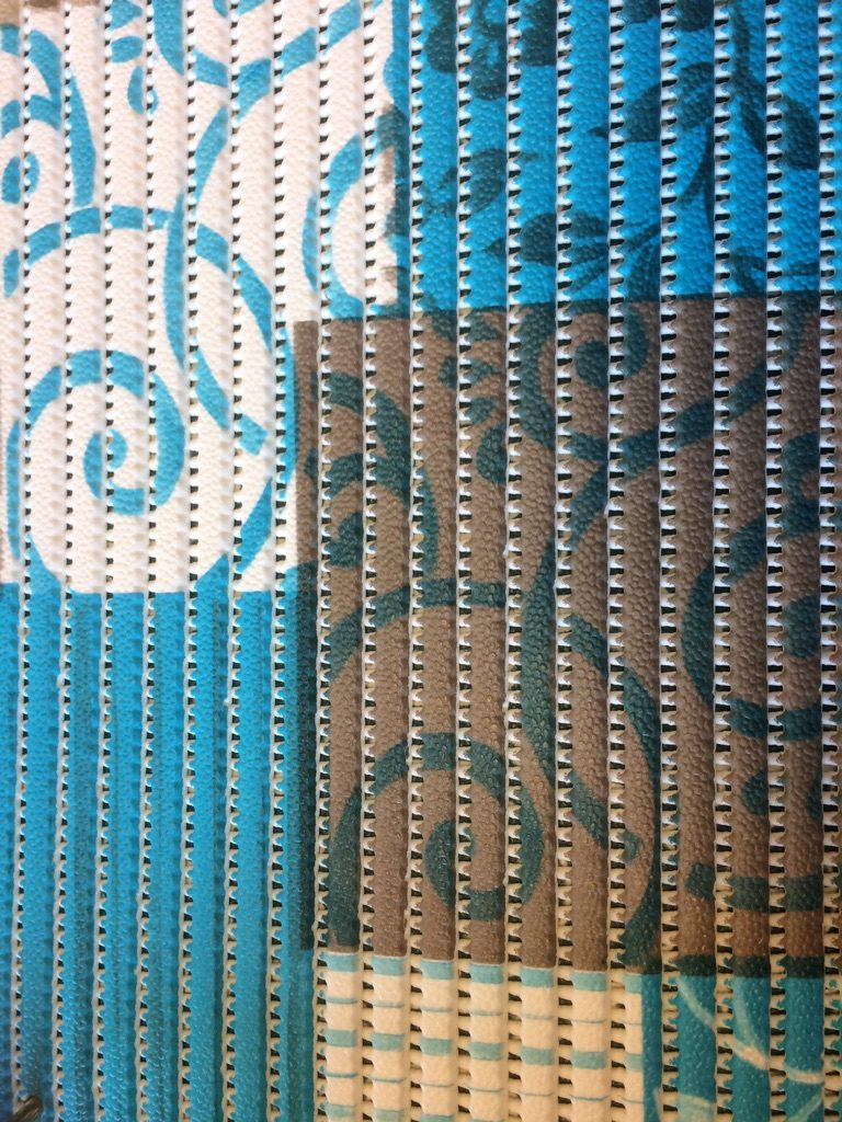 Skumtæppe patchwork blå