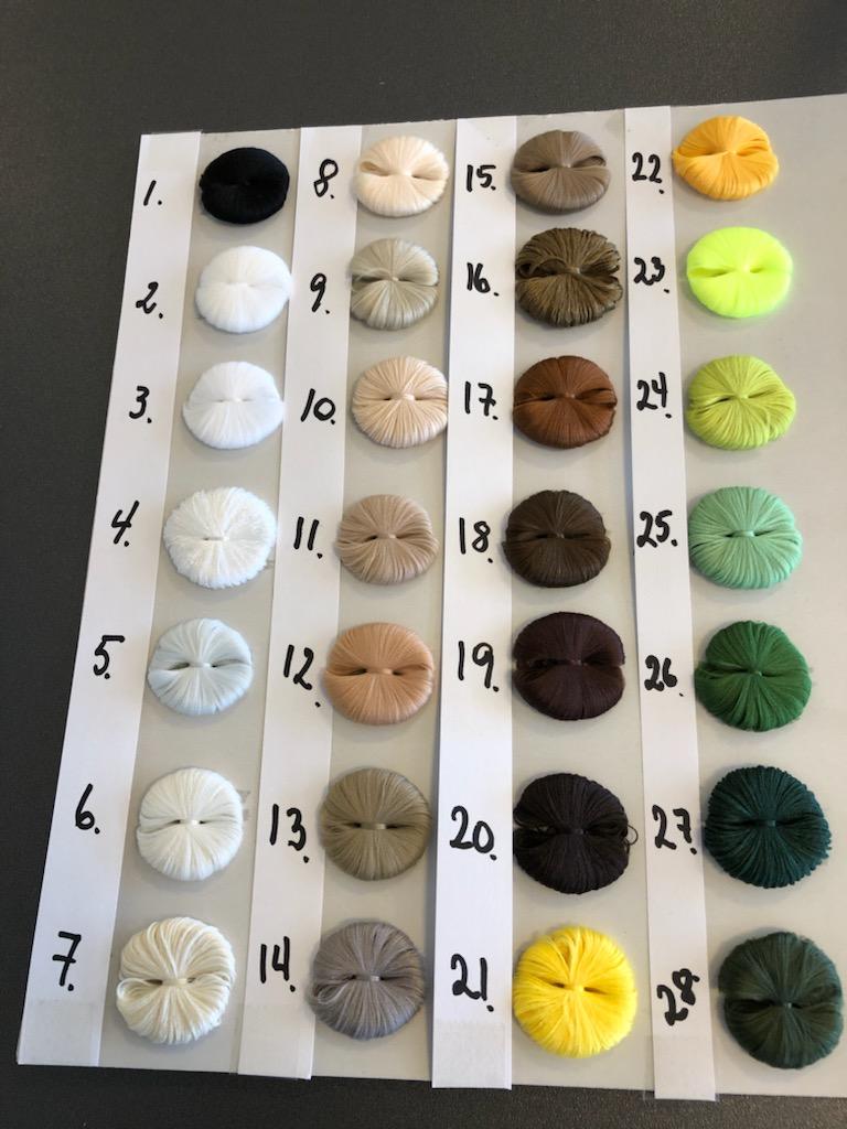 Farvekort til møbelsnore. Min. 100 m. pr. farve